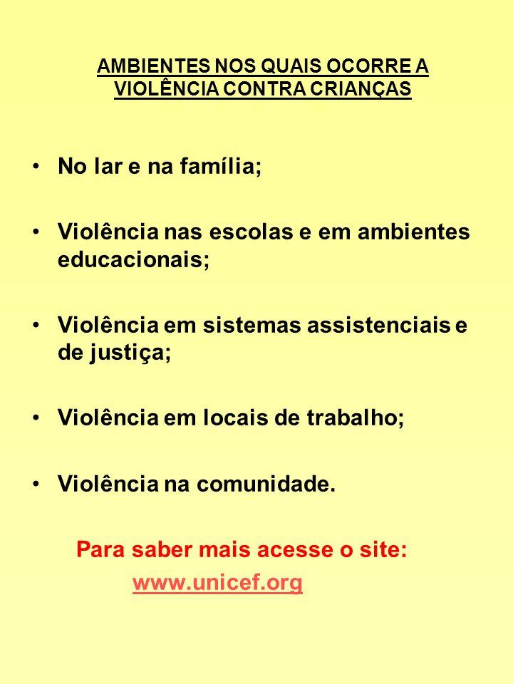AMBIENTES NOS QUAIS OCORRE A VIOLÊNCIA CONTRA CRIANÇAS No lar e na família; Violência nas escolas e em ambientes educacionais; Violência em sistemas a