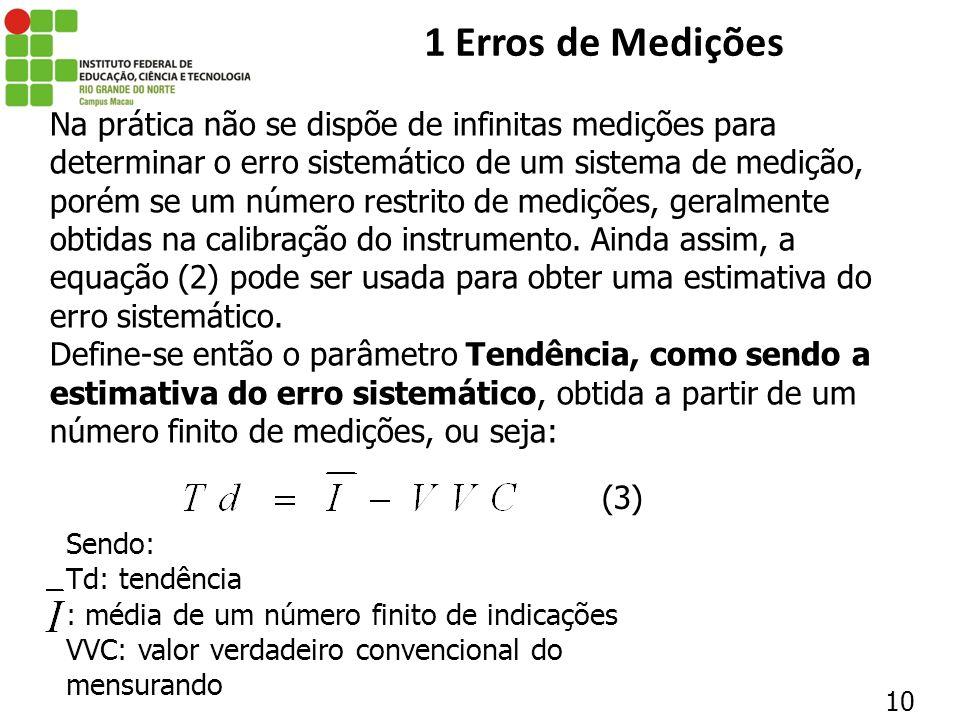 10 1 Erros de Medições Na prática não se dispõe de infinitas medições para determinar o erro sistemático de um sistema de medição, porém se um número