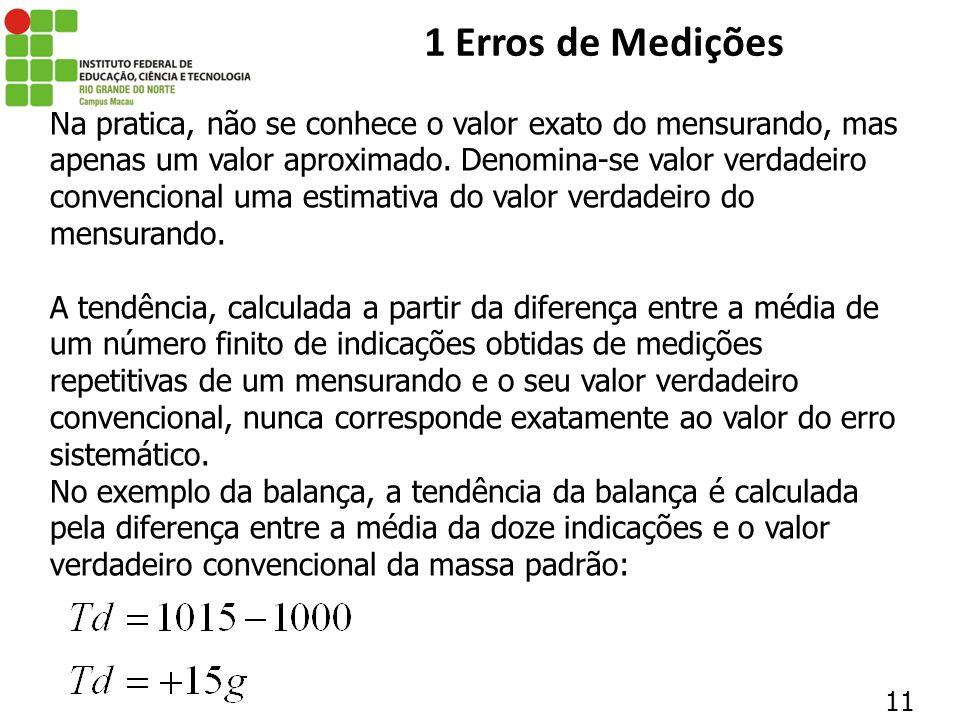 11 1 Erros de Medições Na pratica, não se conhece o valor exato do mensurando, mas apenas um valor aproximado. Denomina-se valor verdadeiro convencion