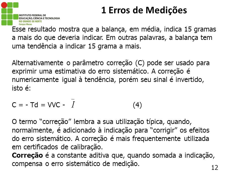 12 1 Erros de Medições Esse resultado mostra que a balança, em média, indica 15 gramas a mais do que deveria indicar. Em outras palavras, a balança te
