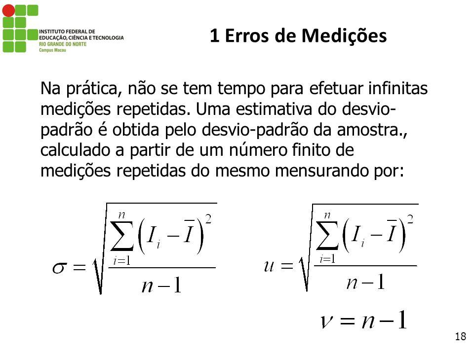 18 1 Erros de Medições Na prática, não se tem tempo para efetuar infinitas medições repetidas. Uma estimativa do desvio- padrão é obtida pelo desvio-p