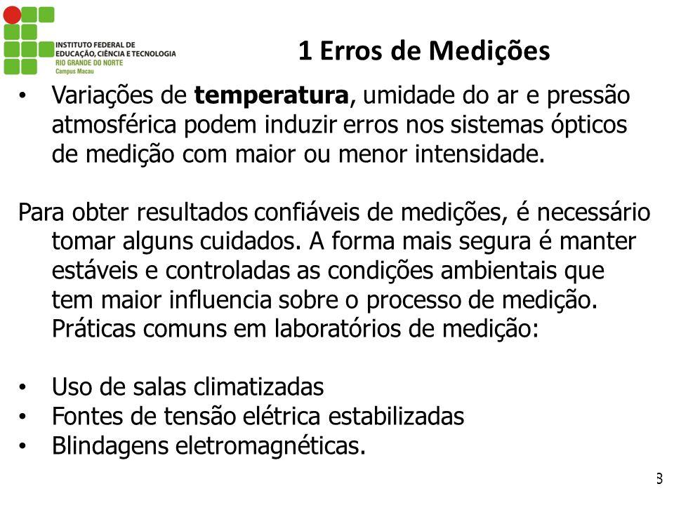 28 1 Erros de Medições Variações de temperatura, umidade do ar e pressão atmosférica podem induzir erros nos sistemas ópticos de medição com maior ou