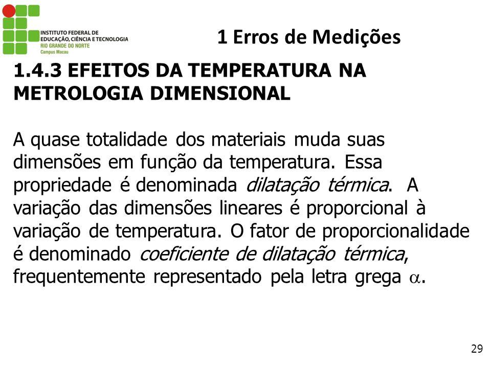29 1 Erros de Medições 1.4.3 EFEITOS DA TEMPERATURA NA METROLOGIA DIMENSIONAL A quase totalidade dos materiais muda suas dimensões em função da temper