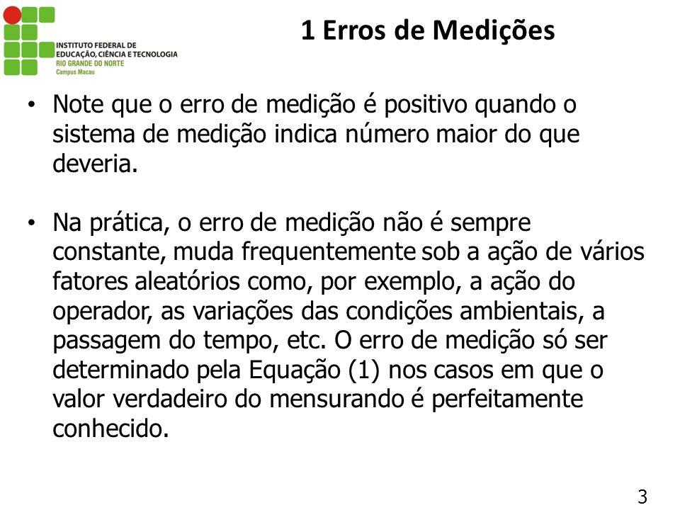 24 1 Erros de Medições 1.4 FONTES DE ERROS As imperfeições do sistema de medição são talvez as causas mais evidentes dos erros de medição.