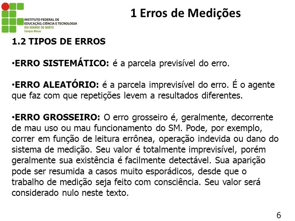 1.2 TIPOS DE ERROS ERRO SISTEMÁTICO: é a parcela previsível do erro. ERRO ALEATÓRIO: é a parcela imprevisível do erro. É o agente que faz com que repe
