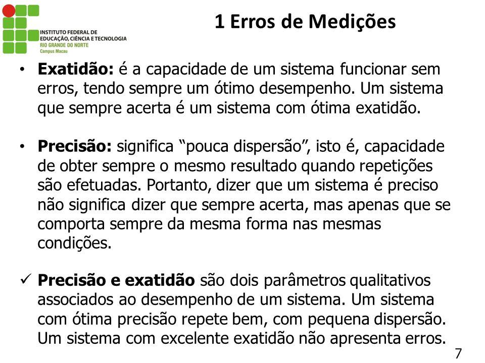 18 1 Erros de Medições Na prática, não se tem tempo para efetuar infinitas medições repetidas.