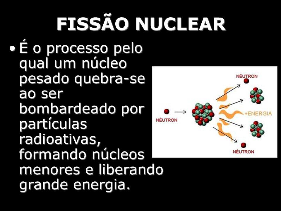 FISSÃO NUCLEAR É o processo pelo qual um núcleo pesado quebra-se ao ser bombardeado por partículas radioativas, formando núcleos menores e liberando g