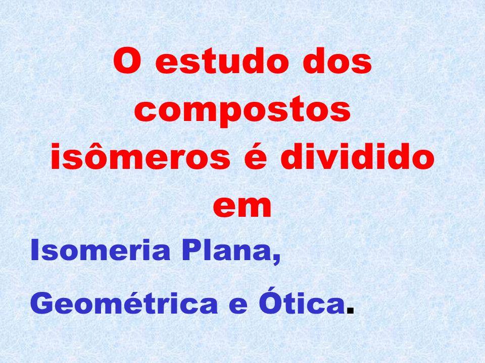 O estudo dos compostos isômeros é dividido em Isomeria Plana, Geométrica e Ótica.