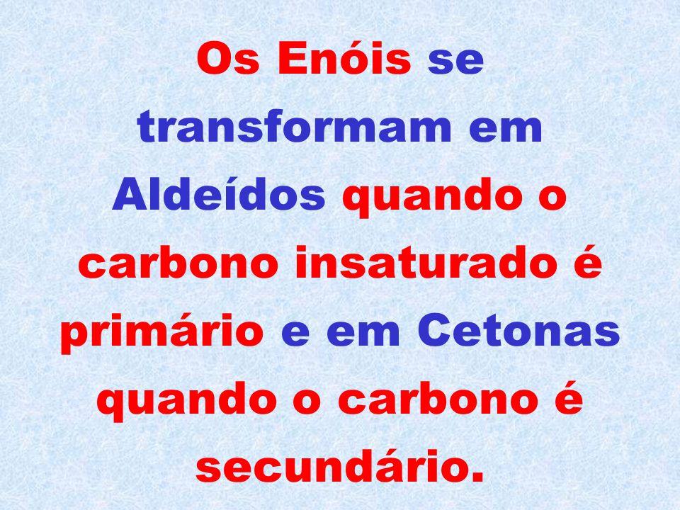 Os principais casos de tautomeria (que vem do grego tautos = dois de si mesmo) envolvem os Enóis, que são Álcoois que possuem a Hidroxila (-OH) presa