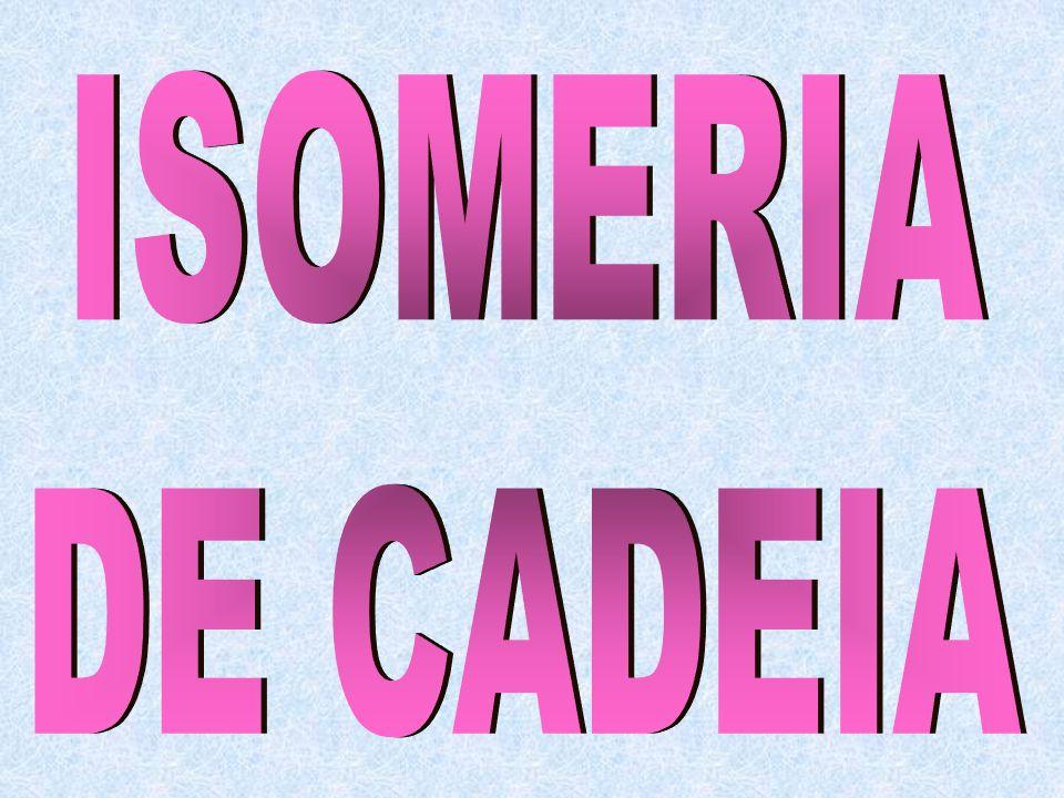 Isomeria de Cadeia ou Isomeria de Núcleo Isomeria de Posição Isomeria de Função Metameria ou Isomeria de Compensação Tautometria ou Isomeria Dinâmica