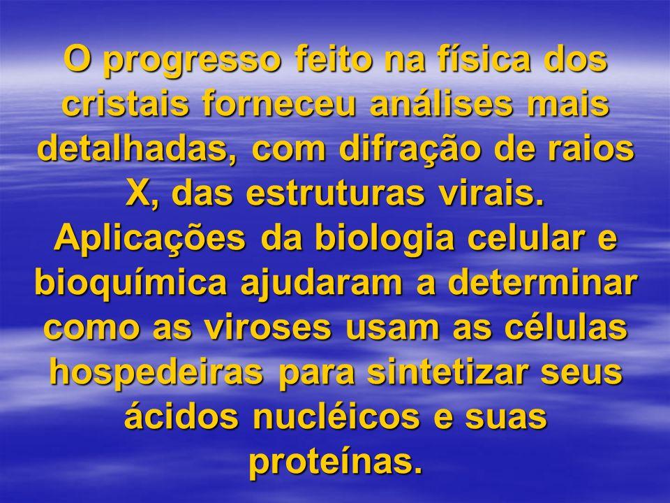 O progresso feito na física dos cristais forneceu análises mais detalhadas, com difração de raios X, das estruturas virais. Aplicações da biologia cel