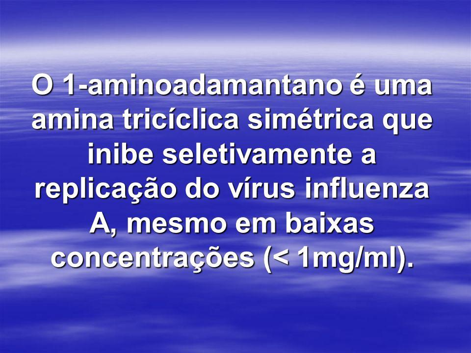 O 1-aminoadamantano é uma amina tricíclica simétrica que inibe seletivamente a replicação do vírus influenza A, mesmo em baixas concentrações (< 1mg/m