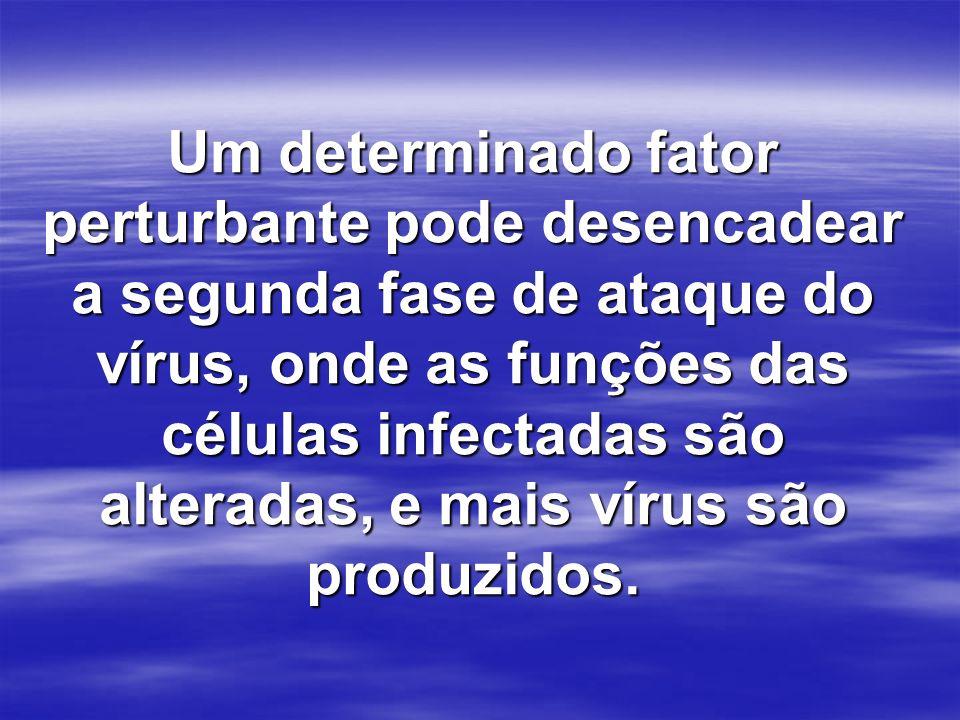 Um determinado fator perturbante pode desencadear a segunda fase de ataque do vírus, onde as funções das células infectadas são alteradas, e mais víru