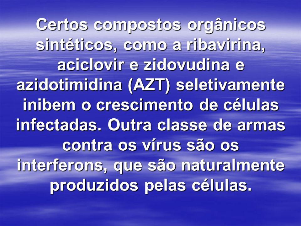 Certos compostos orgânicos sintéticos, como a ribavirina, aciclovir e zidovudina e azidotimidina (AZT) seletivamente inibem o crescimento de células i