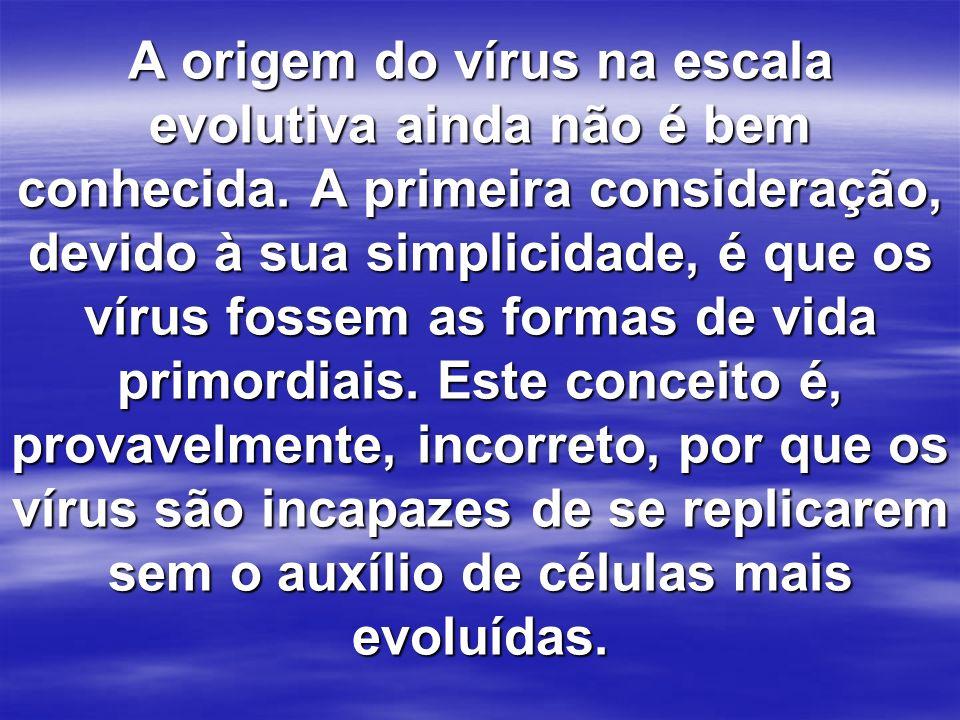 A origem do vírus na escala evolutiva ainda não é bem conhecida. A primeira consideração, devido à sua simplicidade, é que os vírus fossem as formas d