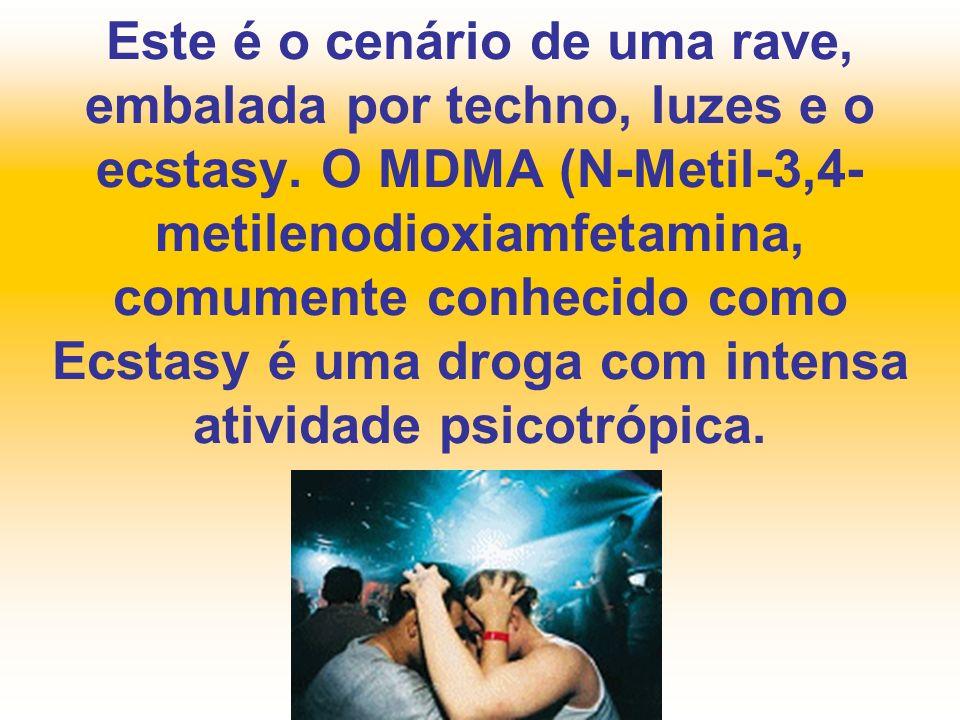 Este é o cenário de uma rave, embalada por techno, luzes e o ecstasy. O MDMA (N-Metil-3,4- metilenodioxiamfetamina, comumente conhecido como Ecstasy é