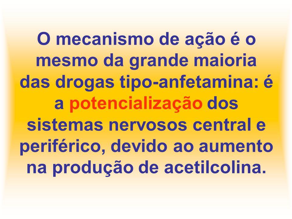 O mecanismo de ação é o mesmo da grande maioria das drogas tipo-anfetamina: é a potencialização dos sistemas nervosos central e periférico, devido ao