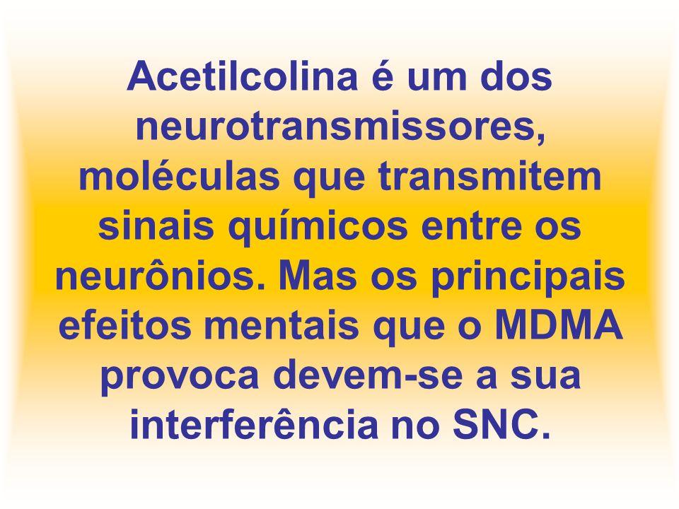 Acetilcolina é um dos neurotransmissores, moléculas que transmitem sinais químicos entre os neurônios. Mas os principais efeitos mentais que o MDMA pr