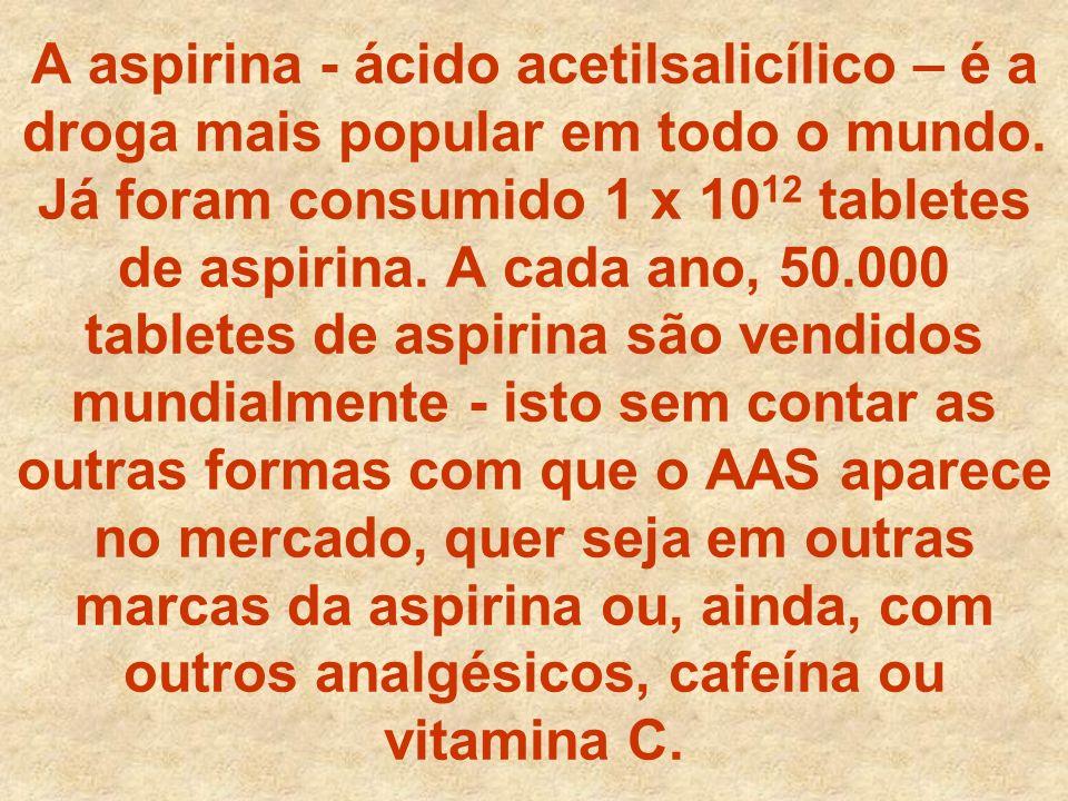 A aspirina - ácido acetilsalicílico – é a droga mais popular em todo o mundo. Já foram consumido 1 x 10 12 tabletes de aspirina. A cada ano, 50.000 ta