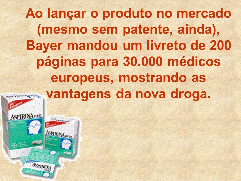 Ao lançar o produto no mercado (mesmo sem patente, ainda), Bayer mandou um livreto de 200 páginas para 30.000 médicos europeus, mostrando as vantagens