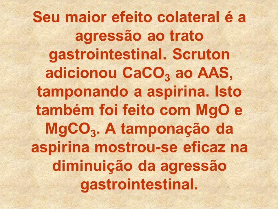 Seu maior efeito colateral é a agressão ao trato gastrointestinal. Scruton adicionou CaCO 3 ao AAS, tamponando a aspirina. Isto também foi feito com M