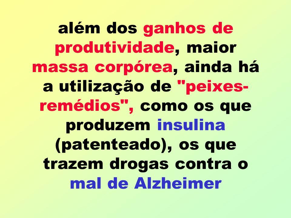 além dos ganhos de produtividade, maior massa corpórea, ainda há a utilização de peixes- remédios , como os que produzem insulina (patenteado), os que trazem drogas contra o mal de Alzheimer