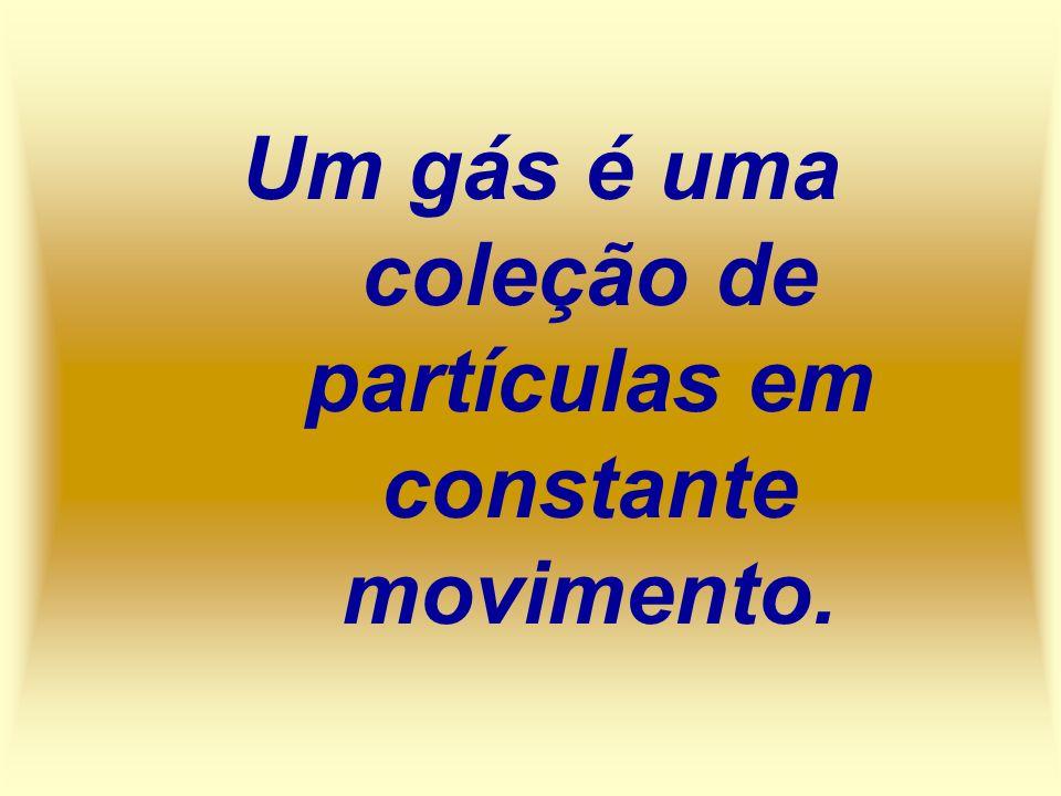 Um gás é uma coleção de partículas em constante movimento.