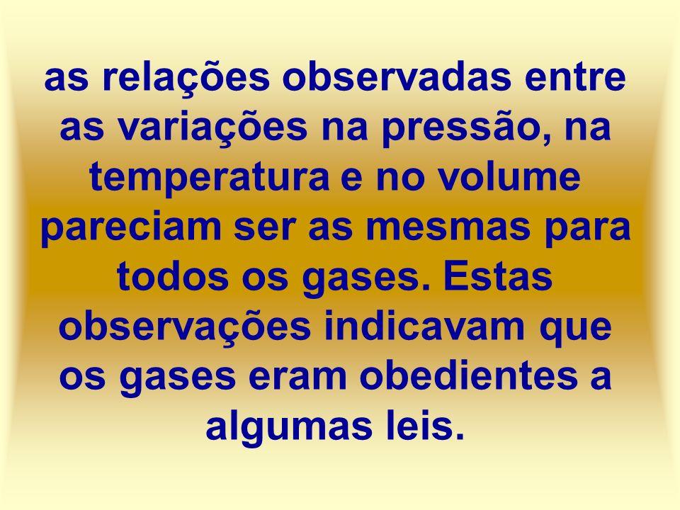 as relações observadas entre as variações na pressão, na temperatura e no volume pareciam ser as mesmas para todos os gases. Estas observações indicav