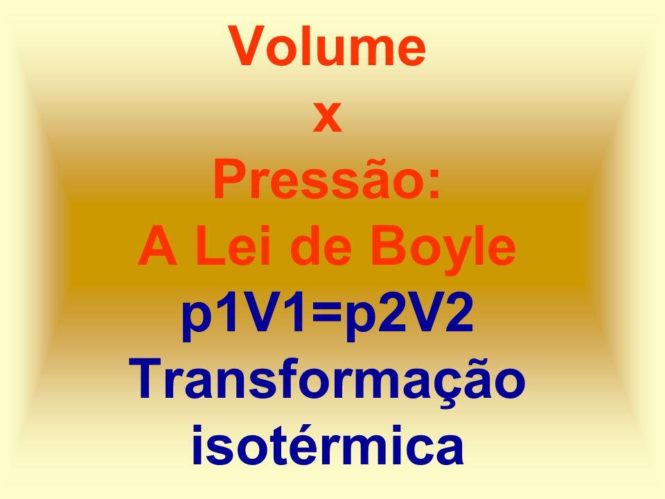 Volume x Pressão: A Lei de Boyle p1V1=p2V2 Transformação isotérmica