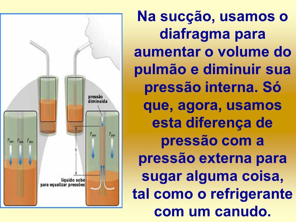 Na sucção, usamos o diafragma para aumentar o volume do pulmão e diminuir sua pressão interna. Só que, agora, usamos esta diferença de pressão com a p