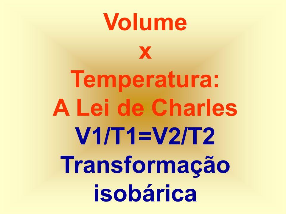 Volume x Temperatura: A Lei de Charles V1/T1=V2/T2 Transformação isobárica