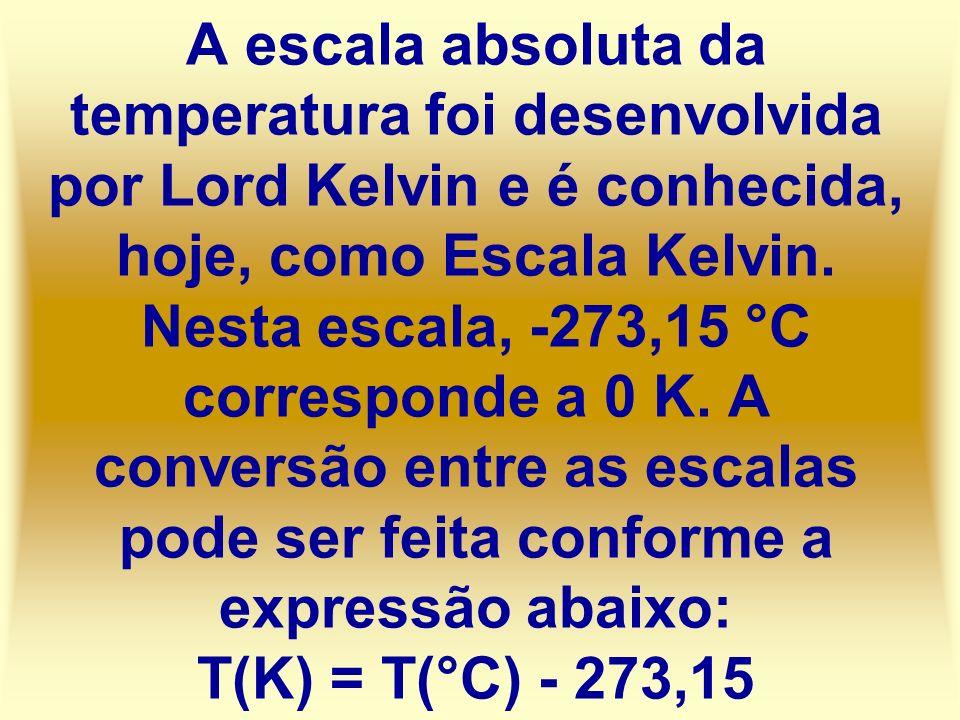 A escala absoluta da temperatura foi desenvolvida por Lord Kelvin e é conhecida, hoje, como Escala Kelvin. Nesta escala, -273,15 °C corresponde a 0 K.