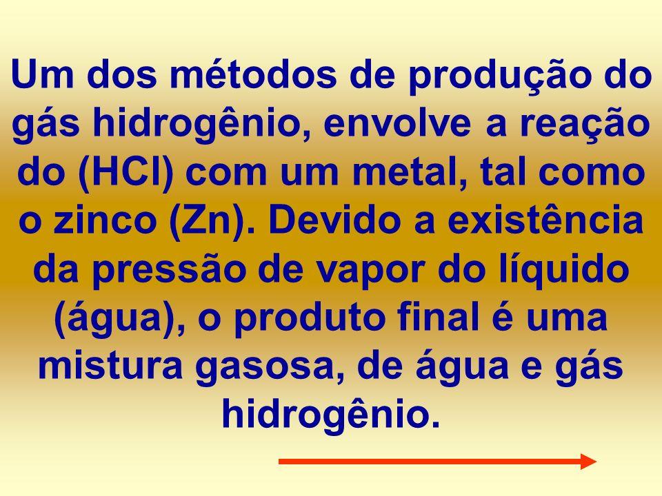 Um dos métodos de produção do gás hidrogênio, envolve a reação do (HCl) com um metal, tal como o zinco (Zn). Devido a existência da pressão de vapor d