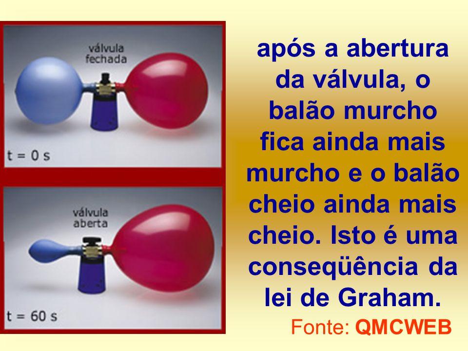 após a abertura da válvula, o balão murcho fica ainda mais murcho e o balão cheio ainda mais cheio. Isto é uma conseqüência da lei de Graham. Fonte: Q