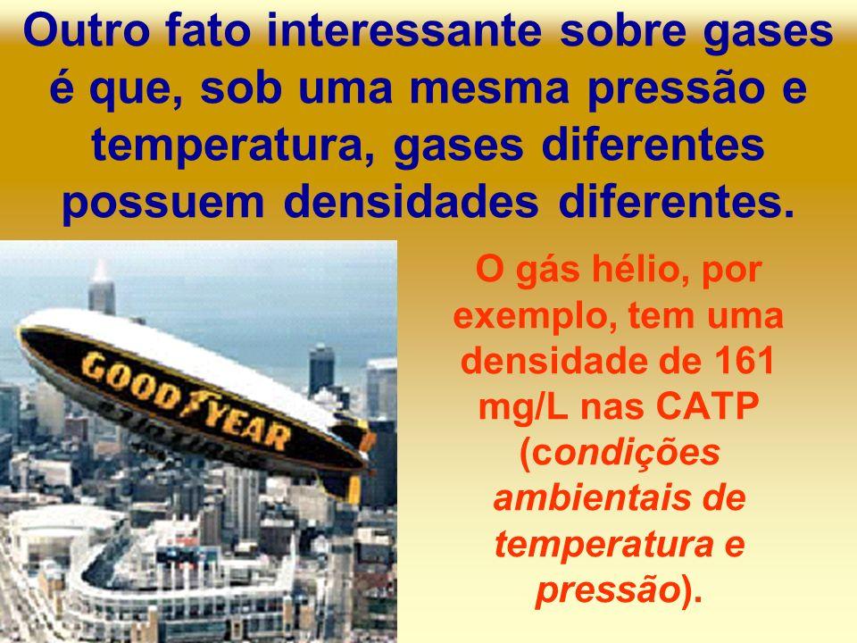 Outro fato interessante sobre gases é que, sob uma mesma pressão e temperatura, gases diferentes possuem densidades diferentes. O gás hélio, por exemp