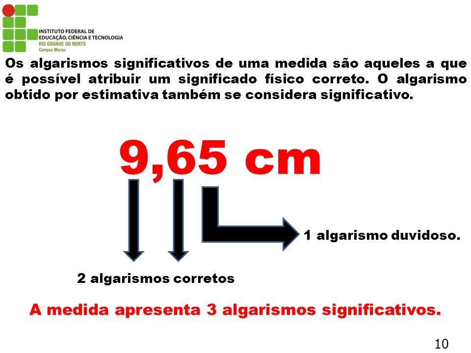 Os algarismos significativos de uma medida são aqueles a que é possível atribuir um significado físico correto. O algarismo obtido por estimativa tamb
