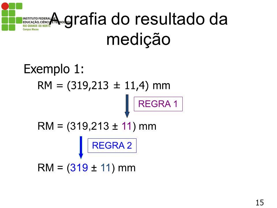 15 A grafia do resultado da medição Exemplo 1: RM = (319,213 ± 11,4) mm RM = (319,213 ± 11) mm REGRA 1 RM = (319 ± 11) mm REGRA 2