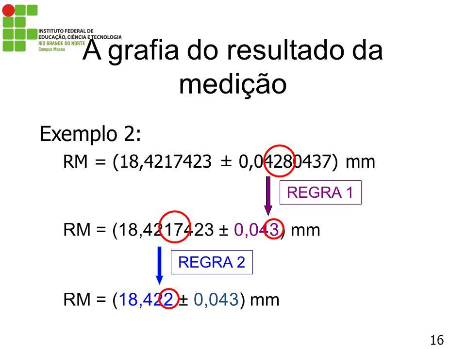 16 A grafia do resultado da medição Exemplo 2: RM = (18,4217423 ± 0,04280437) mm RM = (18,4217423 ± 0,043) mm REGRA 1 RM = (18,422 ± 0,043) mm REGRA 2