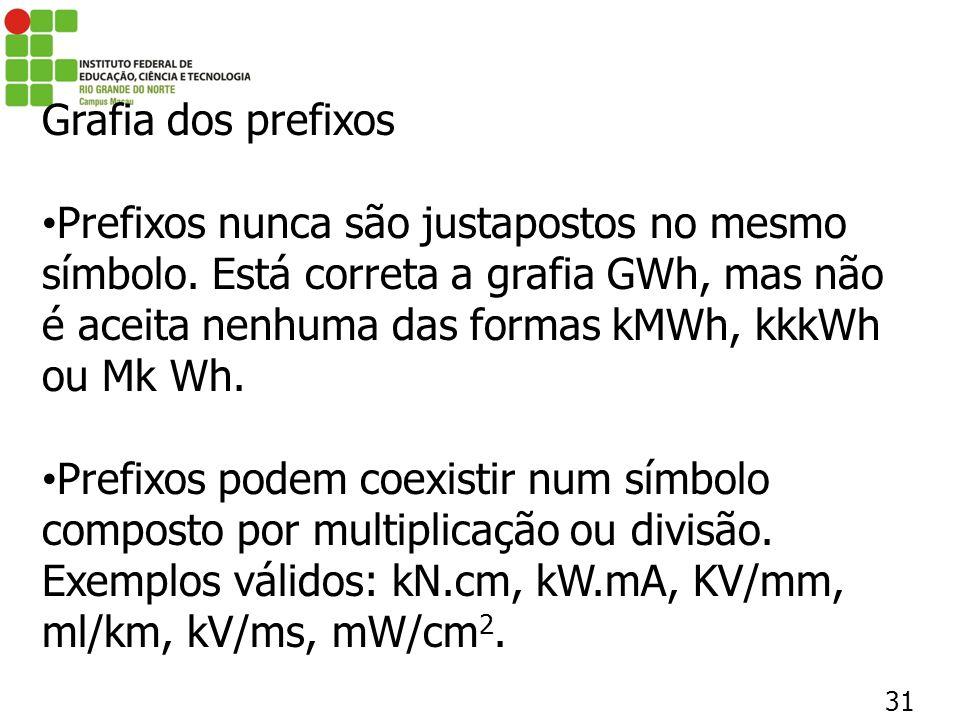 31 Grafia dos prefixos Prefixos nunca são justapostos no mesmo símbolo. Está correta a grafia GWh, mas não é aceita nenhuma das formas kMWh, kkkWh ou