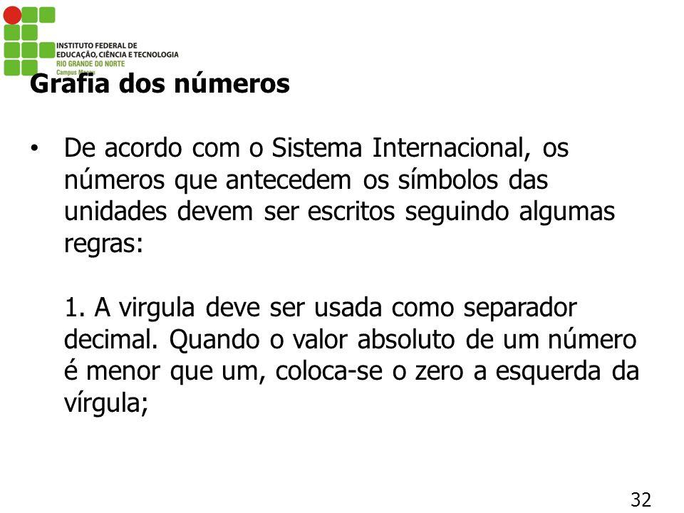32 Grafia dos números De acordo com o Sistema Internacional, os números que antecedem os símbolos das unidades devem ser escritos seguindo algumas reg