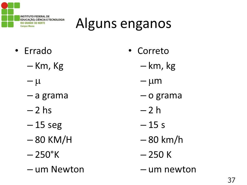 Alguns enganos Errado – Km, Kg – – a grama – 2 hs – 15 seg – 80 KM/H – 250°K – um Newton Correto – km, kg – m – o grama – 2 h – 15 s – 80 km/h – 250 K