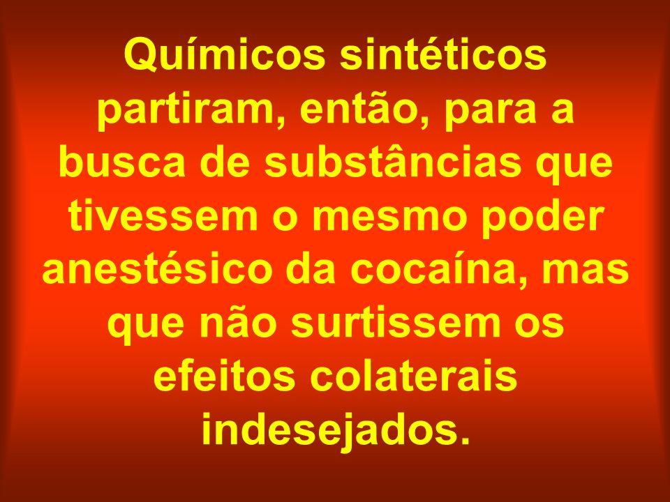 Químicos sintéticos partiram, então, para a busca de substâncias que tivessem o mesmo poder anestésico da cocaína, mas que não surtissem os efeitos co