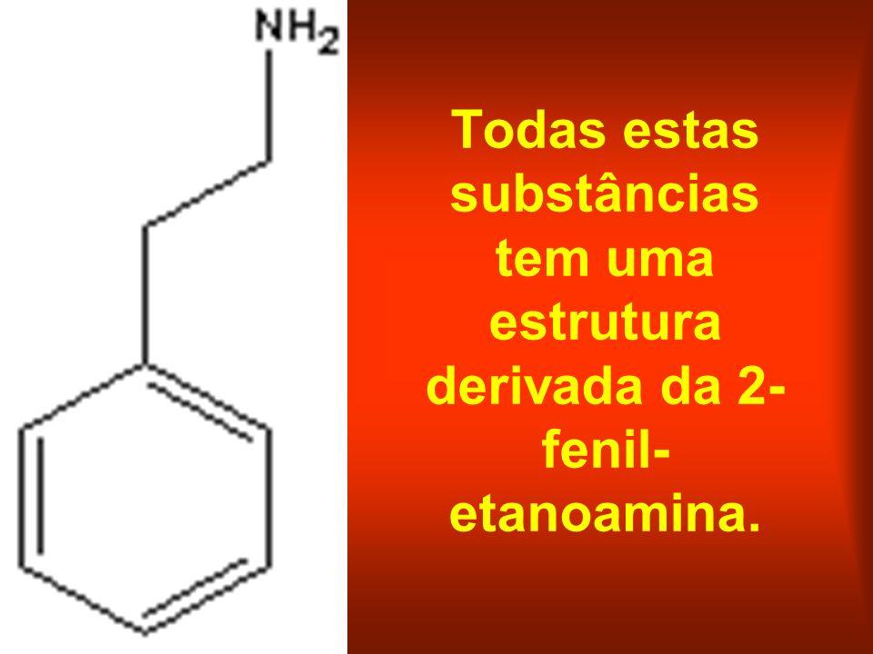 Todas estas substâncias tem uma estrutura derivada da 2- fenil- etanoamina.