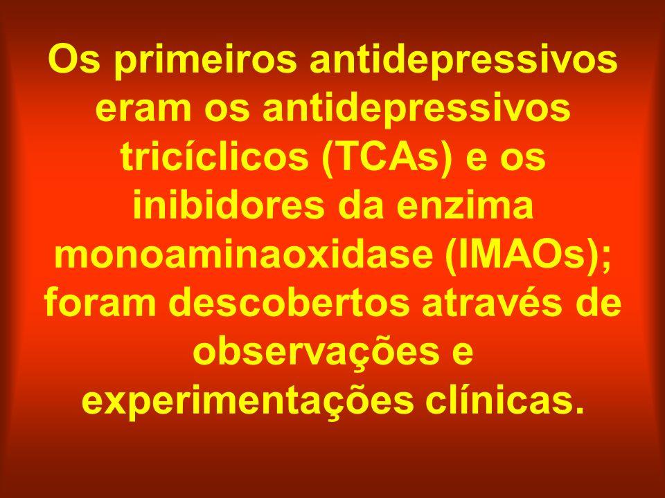 Os primeiros antidepressivos eram os antidepressivos tricíclicos (TCAs) e os inibidores da enzima monoaminaoxidase (IMAOs); foram descobertos através