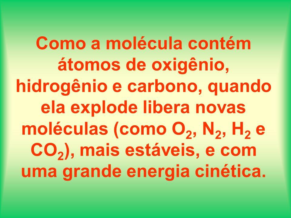 Como a molécula contém átomos de oxigênio, hidrogênio e carbono, quando ela explode libera novas moléculas (como O 2, N 2, H 2 e CO 2 ), mais estáveis