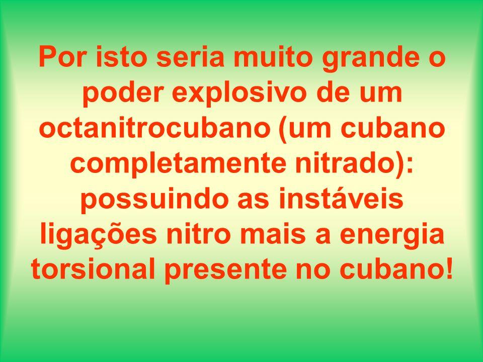 Por isto seria muito grande o poder explosivo de um octanitrocubano (um cubano completamente nitrado): possuindo as instáveis ligações nitro mais a en