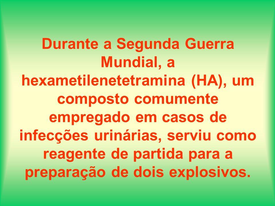 Durante a Segunda Guerra Mundial, a hexametilenetetramina (HA), um composto comumente empregado em casos de infecções urinárias, serviu como reagente