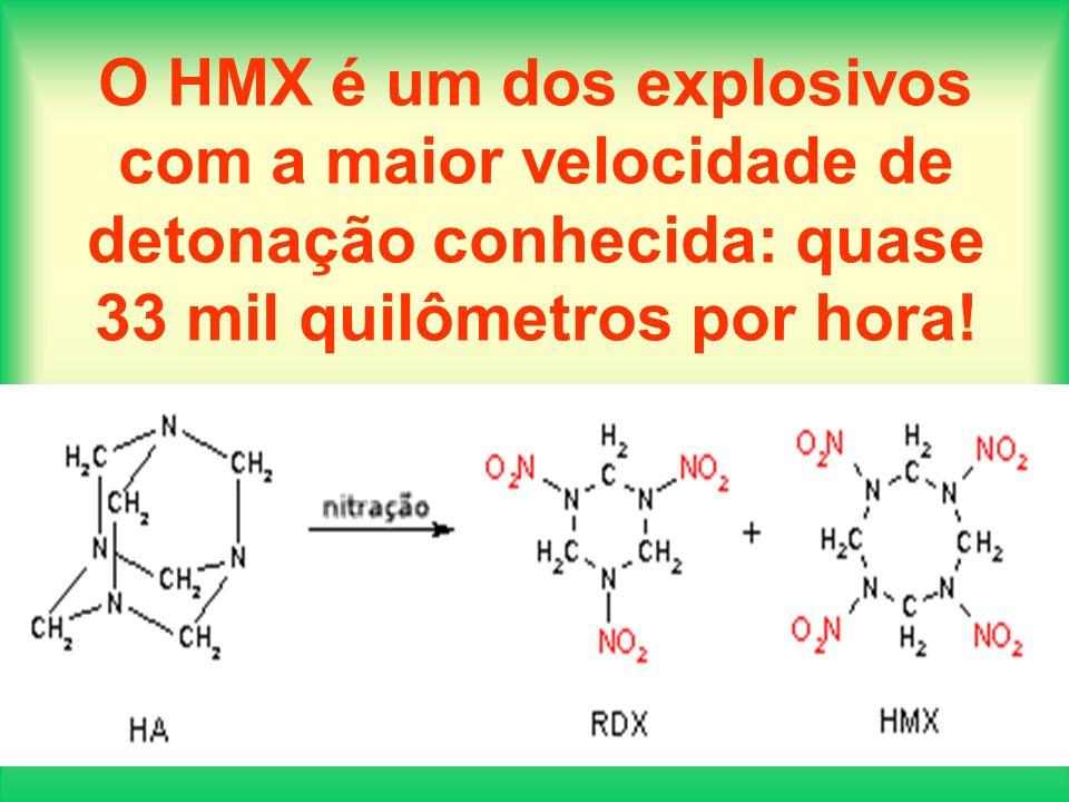 O HMX é um dos explosivos com a maior velocidade de detonação conhecida: quase 33 mil quilômetros por hora!