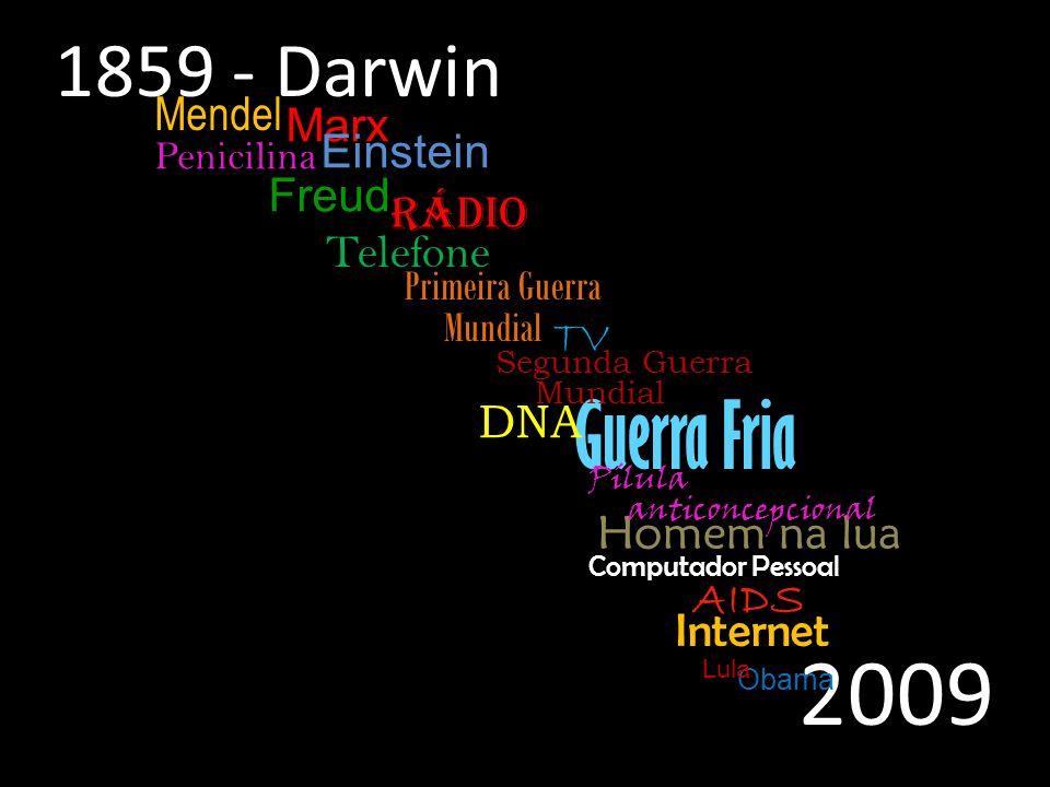 Guerra Fria 1859 - Darwin Primeira Guerra Mundial Segunda Guerra Mundial Homem na lua Internet TV Telefone Rádio Mendel Marx Freud Pílula anticoncepci