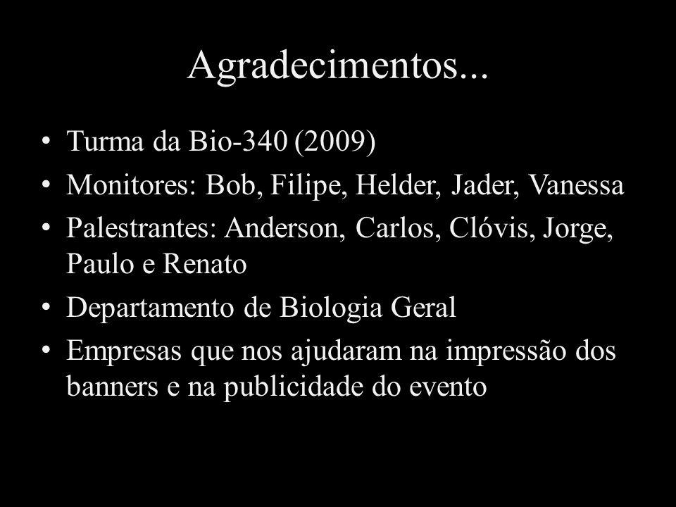 Agradecimentos... Turma da Bio-340 (2009) Monitores: Bob, Filipe, Helder, Jader, Vanessa Palestrantes: Anderson, Carlos, Clóvis, Jorge, Paulo e Renato
